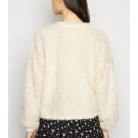Off White Fluffy Fine Knit Cardigan New Look