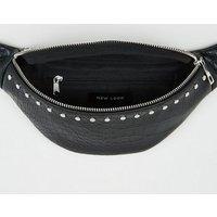 Black Faux Croc Stud Bum Bag New Look Vegan