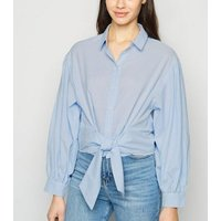 Blue Stripe Puff Sleeve Tie Front Shirt New Look