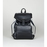 Black Clear Faux Croc Panel Backpack New Look Vegan