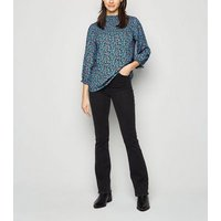 Blue Ditsy Floral Shirred Blouse New Look