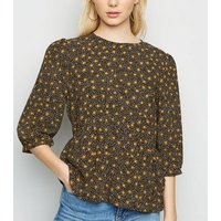 Black Spot Puff Sleeve Peplum Top New Look