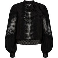 Black Lace Panel Puff Sleeve Blouse New Look