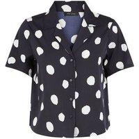 Black Spot Short Sleeve Boxy Shirt New Look