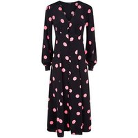 Black Spot Button Long Sleeve Midi Dress New Look