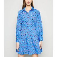 Blue Floral Long Sleeve Shirt Dress New Look