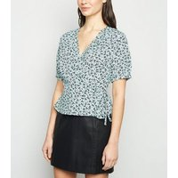 Blue Ditsy Floral Frill Wrap Blouse New Look