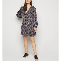 Black Floral Spot Puff Sleeve Mini Dress New Look