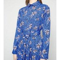 Blue Floral Leopard Print Midi Shirt Dress New Look