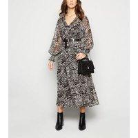 Black Leopard Print Chiffon Midi Dress New Look