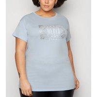 Curves Pale Blue Merci Slogan T-Shirt New Look
