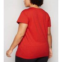 Curves Red Diamante Tape Paris Slogan T-Shirt New Look