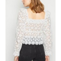 White Floral Mesh Peplum Top New Look