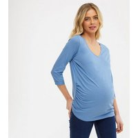Maternity Blue 3/4 Sleeve T-Shirt New Look
