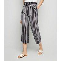 Black Vertical Stripe Crop Trousers New Look