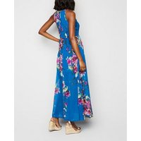 Blue Vanilla Blue Floral Pleated Maxi Dress New Look