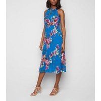 Blue Vanilla Blue Floral Pleated Midi Dress New Look