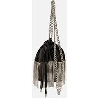 Black Satin Diamanté Pouch Bag New Look 653387901