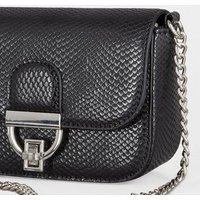 Black Faux Snake Chain Shoulder Bag New Look