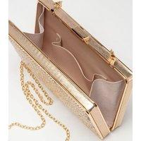 Gold Metallic Chain Strap Box Bag New Look