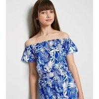 Girls Blue Tropical Bardot Jumpsuit New Look