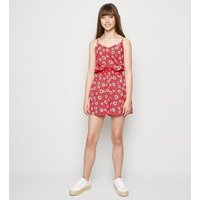 Girls Red Floral and Spot Print Playsuit New Look