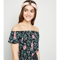 Girls Black Tropical Floral Bardot Playsuit New Look