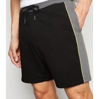 Mens-Black-Piped-Colour-Block-Shorts-New-Look