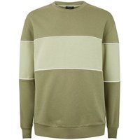 Plus Size Olive Colour Block Sweatshirt New Look