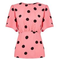 Pink Spot Tie Back Top New Look