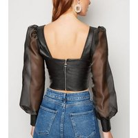 Cameo Rose Black Leather-Look Organza Sleeve Top New Look