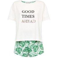 White Palm Print Good Times Slogan Pyjama Set New Look
