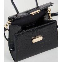 Black Faux Croc Mini Top Handle Bag New Look Vegan