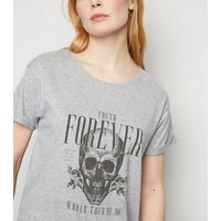 Grey Marl Truth Forever Skull Slogan Rock T-Shirt New Look