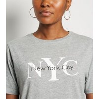Grey Marl NYC Slogan T-Shirt New Look