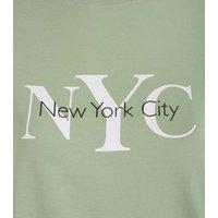 Light Green NYC Slogan T-Shirt New Look