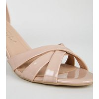 Pale Pink Patent 2-Part Mid Stiletto Heels New Look
