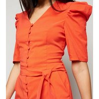 Pink Vanilla Bright Orange Button Front Playsuit New Look