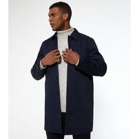 Navy Long Mac Jacket New Look