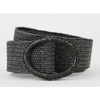 Black Straw Effect Stretch Belt New Look