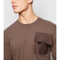 Only & Sons Dark Brown Pocket Long Sleeve T-Shirt New Look