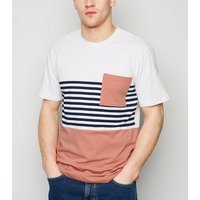 Only & Sons Mid Pink Stripe Colour Block T-Shirt New Look