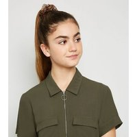 Girls Khaki Utility Zip Playsuit New Look