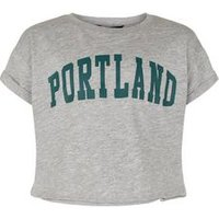 Girls Grey Portland Slogan T-Shirt New Look