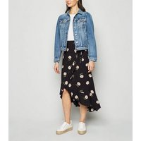Black Daisy Print Ruffle Wrap Midi Skirt New Look