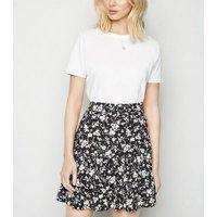 Black Floral Ruffle Tiered Mini Skirt New Look