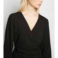 JDY Black Tie Waist Mini Wrap Dress New Look