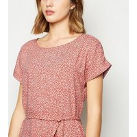 JDY Rust Floral Belted Dress New Look
