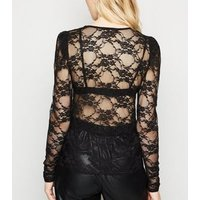 Black Lace Mesh Puff Sleeve Top New Look