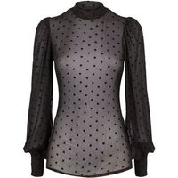 Black Mesh Flocked Heart Puff Sleeve Blouse New Look